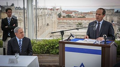 Israeli Prime Minister Benjamin Netanyahu and Jerusalem Mayor Nir Barkat hold a press conference at the Mamila Hotel in Jerusalem on Feb. 23, 2015. Photo by Hadas Parush/Flash90.