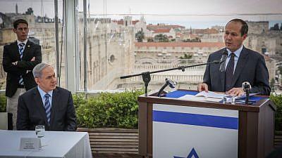 Israeli Prime Minister Benjamin Netanyahu and Jerusalem Mayor Nir Barkat hold a press conference at the Mamila Hotel in Jerusalem on Feb. 23, 2015. Photo by Hadas Parush/Flash90.