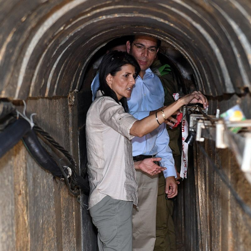 U.S. Ambassador to the United Nations Nikki Haley visits at a terror tunnel built by Hamas on the Israel-Gaza border, June 8, 2017. Photo by Matty Stern/U.S. Embassy Tel Aviv.