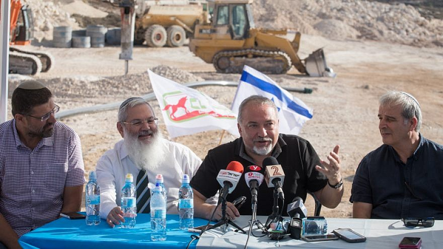 Israeli minister of Defense Avigdor Lieberman visits construction of the new Israeli settlement Amichai, established as the new home for the evacuated residents of Amona, on Oct. 18, 2017. Photo by Hadas Parush/Flash90.