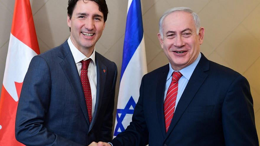 Israeli Prime Minister Benjamin Netanyahu with Canadian Prime Minister Justin Trudeau in Davos, Switzerland, on Jan. 24, 2018.  Photo by Amos Ben Gershom/GPO.