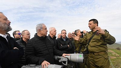 Israeli Prime Minister Benjamin Netanyahu and Security Cabinet members get a tour with the North Front Command in the Golan Heights, on Feb. 6, 2018. Photo by Kobi Gideon/GPO.