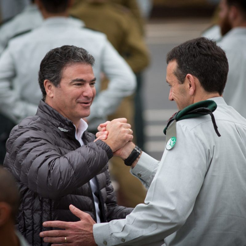 Outgoing IDF Chief of Intelligence,  Major General  Herzi Halevy, seen with head of the Mossad Yossi Cohen, at Glilot military base near Tel Aviv, March 28, 2018. Photo by Miriam Alster/Flash90
