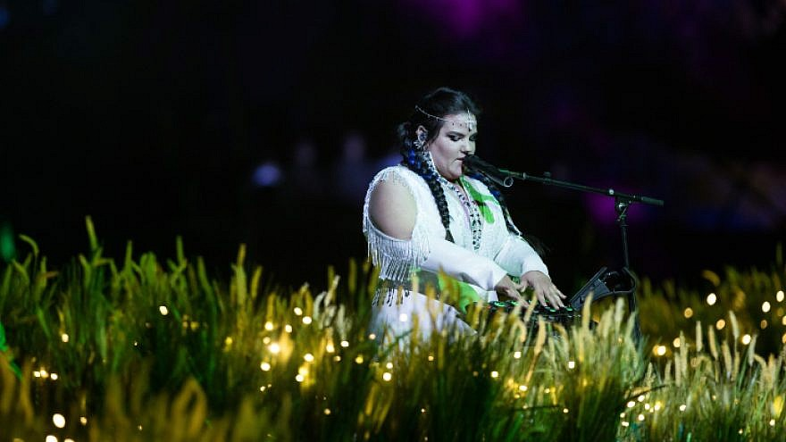 Israel's Eurovision representative, singer Netta Barzilai, performing at the 70th-anniversary Independence Day ceremony in Jerusalem on April 18, 2018. Photo by Hadas Parush/Flash90