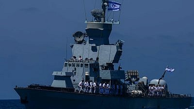 An Israeli Navy boat at a marine show as part on Israel's 70th Independence Day celebrations near the shore of Tel Aviv on April 19, 2018. Photo by Tomer Neuberg/Flash90.