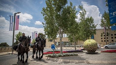 Mounted police seen in front of the U.S. consulate in Jerusalem's Arnona neighborhood on May 13, 2018. Photo by Yonatan Sindel/Flash90