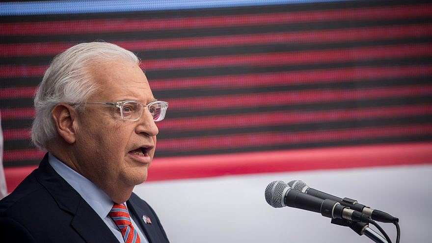 U.S. Ambassador to Israel David Friedman speaks at the official opening ceremony of the U.S. embassy in Jerusalem on May 14, 2018. Photo by Yonatan Sindel/Flash90