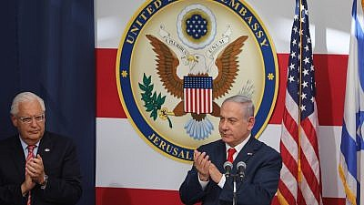Israeli Prime Minister Benjamin Netanyahu at the official opening ceremony of the U.S. embassy in Jerusalem on May 14, 2018. To his left is U.S. Ambassador to Israel David Friedman. Photo by Yonatan Sindel/Flash90.