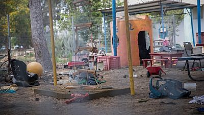 The yard of a kindergarten struck by a mortar shell fired from Gaza on May 29, 2018. Photo by Yonatan Sindel/Flash90.
