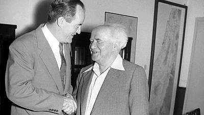 Hubert Humphrey, left, with Israel's first prime minister, David Ben-Gurion. (Courtesy of the Central Zionist Archives, Jerusalem)