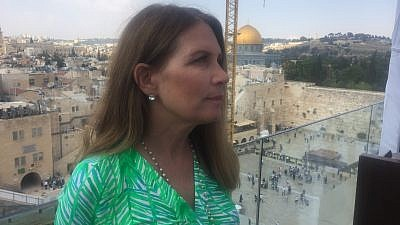 Former Rep. Michele Bachmann on a rooftop overlooking the Western Wall and Temple Mount in Jerusalem. Credit: Alex Traiman.