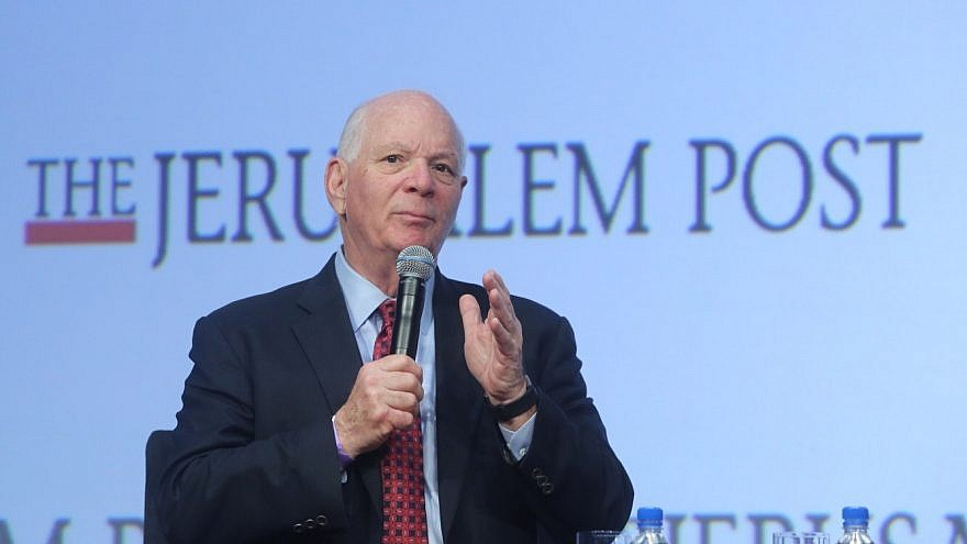 """Sen. Ben Cardin (D-Md.) addressing the 2018 Jerusalem Post Conference in New York City. He said that despite efforts by some to make Israel a """"political wedge issue,"""" U.S. support for the Jewish state is strong and bipartisan. Credit: The Jerusalem Post."""