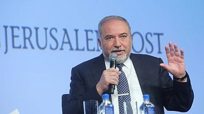 "Israeli Defense Minister Avigdor Lieberman speaking at the 2018 Jerusalem Post Conference in New York City on April 29, 2018. He told the audience Israel has only three problems—""Iran, Iran, Iran""—and noted that Iran is attempting to destabilize the entire Middle East. (Credit: The Jerusalem Post)"