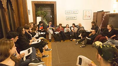 "Rabbi Nikki DeBlosi leads a JLF seminar on ""Sex, Love, and Romance"" at New York University's Bronfman Center for Jewish Student Life. Credit: Hillel International."