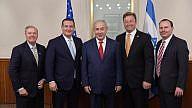 Israeli Prime Minister Benjamin Netanyahu (center) with a delegation of Republican U.S. senators in for the embassy opening. From left: Sen. Lindsey Graham R-S.C.), Sen. Ted. Cruz (R-Texas), Sen. Dean Heller (R-Nev.) and Sen. Mike Lee (R-Utah). Credit: Amos Ben-Gershom/GPO.