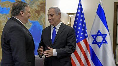 U.S. Secretary of State Mike Pompeo speaks with Israel Prime Minister Benjamin Netanyahu in Tel Aviv on April 29, 2018. Credit: U.S. Department of State.
