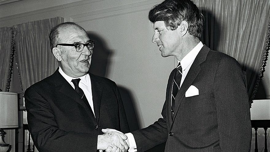 Israeli Prime Minister Levi Eshkol, left, with Robert F. Kennedy in January 1964. Credit: David Eldan, GOP.