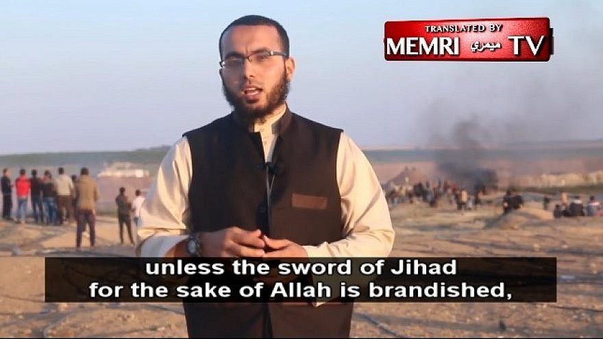 """Khaled Hany Morshid: """"Allah mentioned the enmity of the Jews toward Islam and the Muslims in His book."""" (Morshid posted the video of himself on his social-media channels on April 14: MEMRI)"""