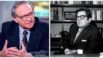 "William Safire, left, and A.M. (""Abe"") Rosenthal. Credit: Alamy Stock Photo, Richard Ellis; Associated Press."