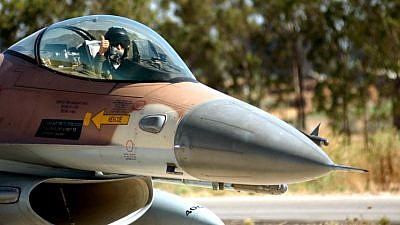 An Israeli army pilot sits  in a cokpit of an F-16 aircraft. Photo by Flash90.