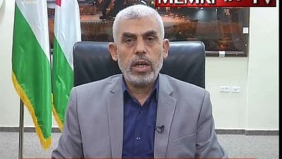 Hamas leader in Gaza Yahya Sinwar in an interview with the Lebanese Al-Mayadeen TV channel on May 21. (MEMRI)