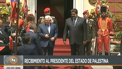 Palestinian Authority leader Mahmoud Abbas is officially received by Venezuelan President Nicolas Maduro. Source: YouTube.