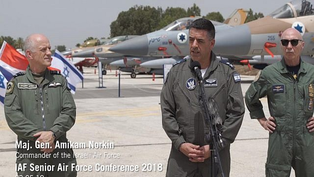 IAF commander Maj.-Gen. Amikam Norkin (center) holding a press conference on Wednesday with  Lt. Gen. Enzo Vecciarelli, Chief of Staff of the Italian Air Force (right) and  Air Marshal Stuart Atha,Deputy Commander of Britain's Royal Air Force (left) at Tel Nof Air Force Base. Credit: Screenshot.