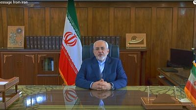 in a YouTube message, Iranian Foreign Minister Mohammad Javad Zarif vows that Iran will not renegotiate the 2015 nuclear deal. Credit: Screenshot.