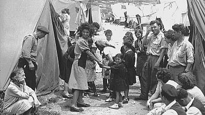 Jewish refugees at a Ma'abarot transit camp in Israel, 1950. Credit: Wikimedia Commons.