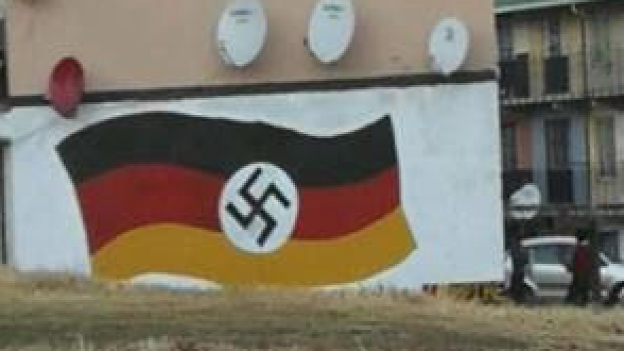 A mural with a Germany flag, with a swastika inserted in it, that appeared in Johannesburg, South Africa. this week amid an uptick in anti-Semitic attacks. Credit: Facebook.