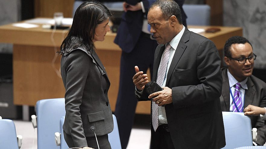U.S. Ambassador to the United Nations Nikki Haley speaks with Tekeda Alemu, Permanent Representative of Ethiopia to the United Nations, before the U.S. Security Council meeting on Mideast issues. Credit: U.N. Photo/Evan Schneider.