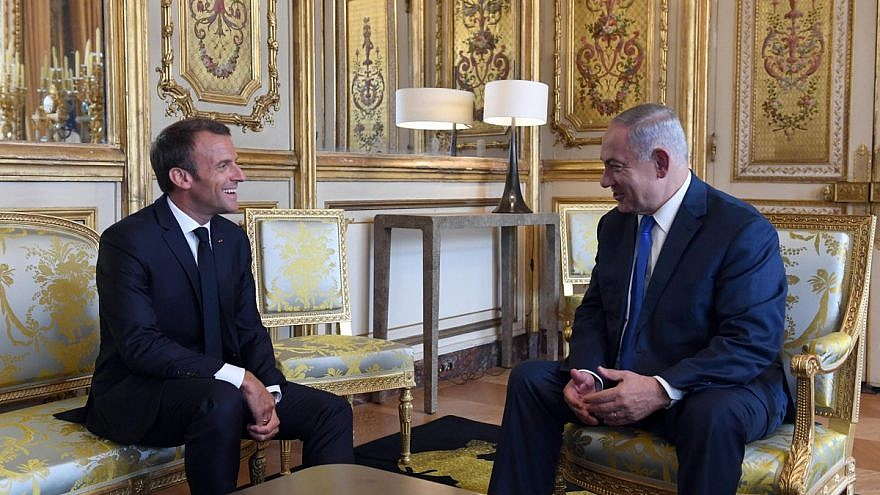 French President Emmanuel Macron meeting with Israeli Prime Minister Benjamin Netanyahu at the Élysée Palace on June 5, 2018. Credit: Haim Zach/GPO.