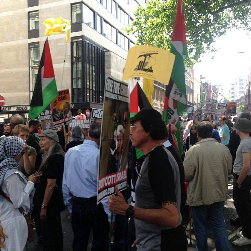 "A Hezbollah flag during ""Al-Quds Day"" demonstrations on the streets of London. Credit: Zionist Federation via Twitter."