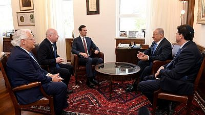 From left: U.S. Ambassador to Israel David Friedman, Special Middle East envoy Jason Greenblatt, White House adviser Jared Kushner, Israeli Prime Minister Benjamin Netanyahu and Israeli Ambassador to the U.S. Ron Dermer, meeting in Jerusalem on June 22, 2018. Credit: US Embassy in Israel.