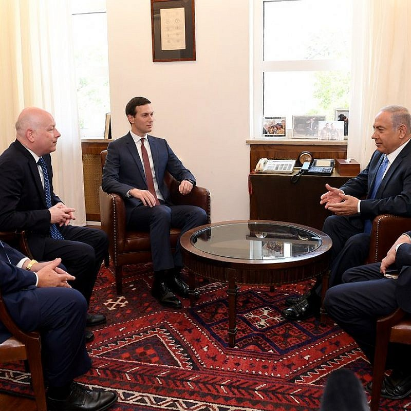 From left: U.S. Ambassador to Israel David Friedman, Special Middle East envoy Jason Greenblatt, White House adviser Jared Kushner, Israeli Prime Minister Benjamin Netanyahu and Israeli Ambassador to the United States Ron Dermer, meeting in Jerusalem on June 22, 2018. Credit: U.S. Embassy in Israel.