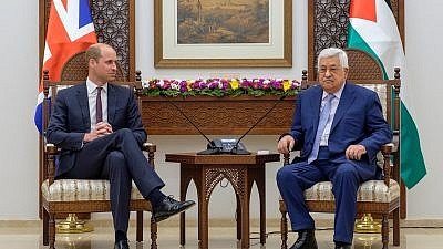 Prince William with Palestinian Authority leader Mahmoud Abbas in Ramallah. Credit: Kensington Palace via Twitter.