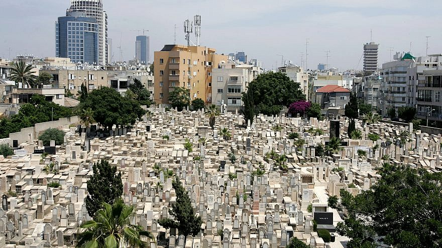 A view of the Trumpeldor cemetery, built in 1902 by one of Tel Aviv's founders, Shimon Rokach. It's named after Yosef Trumpeldor, a Jewish Russian war hero who lived in the beginning of the 20th century. Many of the city's founding fathers, central Zionist and cultural figures are buried here. Credit: Moshe Shai/Flash90.