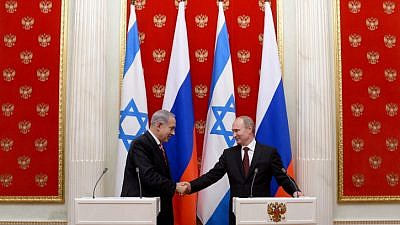 Israeli Prime Minister Benjamin Netanyahu and Russian President Vladimir Putin at a joint press conference after their meeting in the Kremlin in Moscow on Nov. 20, 2013. Photo by Kobi Gideon/GPO/Flash90.
