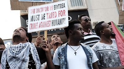 Eritrean migrants protest in front of the European Union embassy in Ramat Gan, near Tel Aviv, calling for the European Union to try the Eritrean leadership for crimes against humanity, June 21, 2016. Photo by Tomer Neuberg/Flash90.