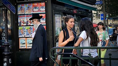 An Orthodox man in the Jewish quarter of Le Marais in Paris on Aug. 13, 2017. Photo by Serge Attal/Flash90.