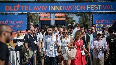 Participants at the DLD Tel Aviv Digital Conference, Israel's largest international high-tech gathering, which features hundreds of startups, investors and leading multinational companies, held at the Old Train Station complex in Tel Aviv on Sept. 6, 2017. Photo by Miriam Alster/Flash90.