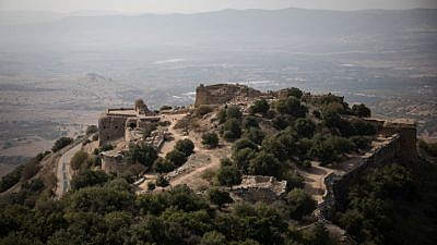 The Nimrod Fortress, a medieval Muslim castle on the southern slopes of Mount Hermon. Built around 1229, the fortress overlooks the Golan Heights and was built with the purpose of guarding a major access route to Damascus against armies coming from the West. Nov. 18, 2017. Photo by Hadas Parush/Flash90.