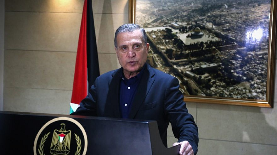 Nabil Abu Rudeinah, spokesman for Palestinian Authority leader Mahmoud Abbas, speaks at a press conference in the West Bank city of Ramallah on Dec. 5, 2017. Source: Flash90.