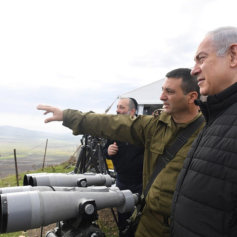 Prime Minister Benjamin Netanyahu and Security Cabinet members get a tour with the North Front Command in the Golan Heights, on February 6, 2018. Credit: Kobi Gideon/GPO