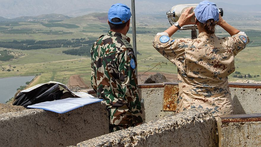 U.N. observers posted on Mount Bental overlooking the border with Syria in the Golan Heights in northern Israel on May 10, 2018. Photo by Basel Awidat/Flash90.