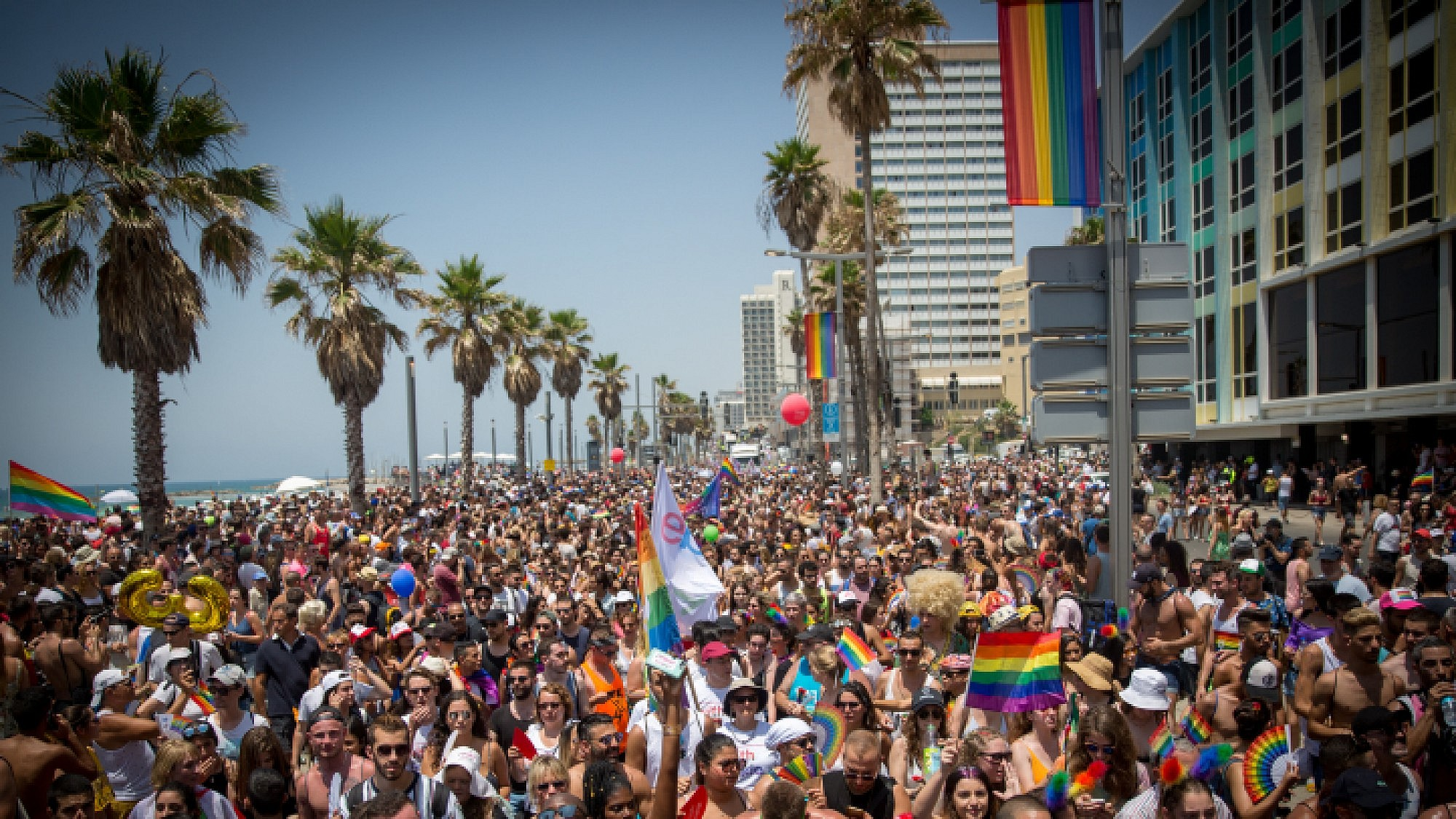 About 250 000 participate at the annual Gay Pride parade in Tel Aviv, on June 8, 2018. Friday's parade marks the end of Pride Week in Tel Aviv, internationally acclaimed as one of the most proud and gay-friendly cities in the world. Photo by Miriam Alster/Flash90.