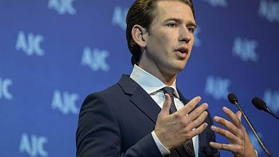 Chancellor of Austria, Sebastian Kurz, speaks at the American Jewish Committee Global Forum at the Jerusalem Convention Center on June 11, 2018. Photo by Yonatan Sindel/Flash90.