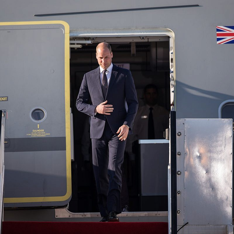 Prince William, the Duke of Cambridge, arrives at Ben-Gurion International Airport on Monday, June 25, 2018, for the first official visit to Israel by the British royal family. Photo by Hadas Parush/Flash90.