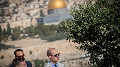 Prince William, Duke of Cambridge, tours the Mount of Olives overlooking the Temple Mount on June 28, 2018 for an official visit to Israel. Photo by Yonatan Sindel/Flash90.