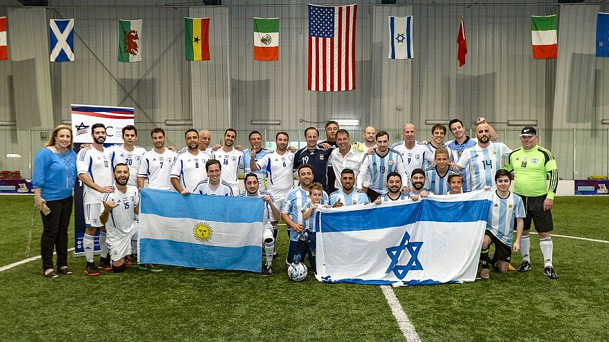 Israeli-American and Argentinian-American soccer teams at a friendly match in Las Vegas. Credit: Israeli-American Council.
